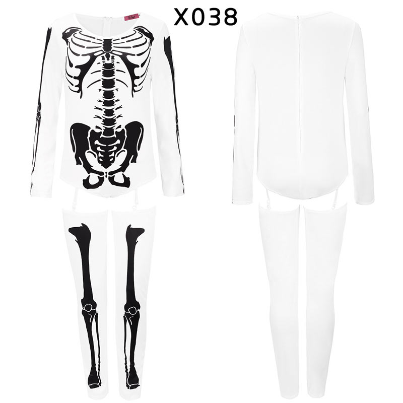 Women Halloween Jumpsuits Costumes Ghost Festival Horror Skeleton Conjoined Gowns Party Sexy Performance Rompers Cosplay Clothes (40)
