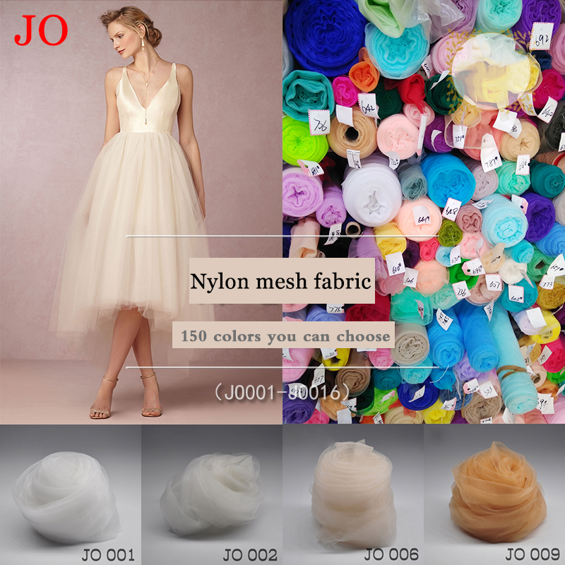 Nylon High-grade custom skirt yarn fabric handmade wedding dress long solid color encryption transparent mesh