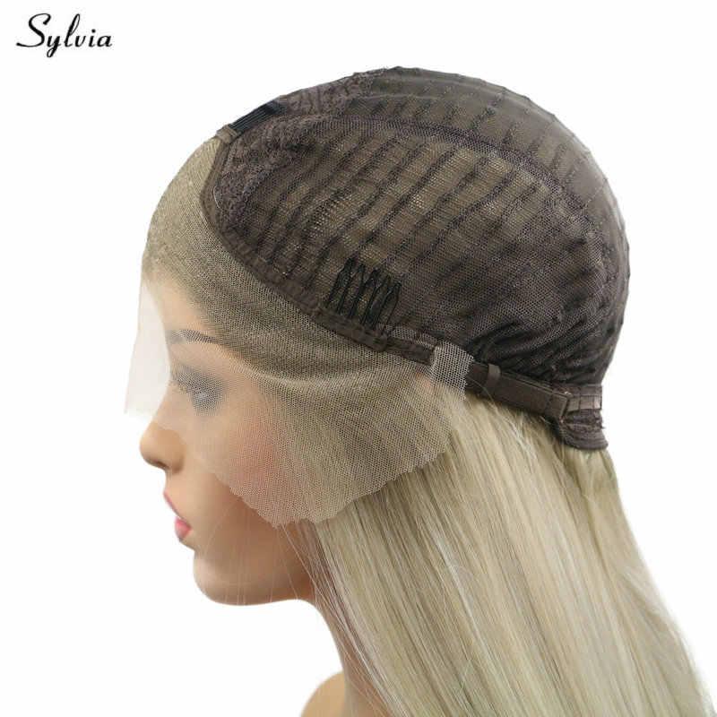 Sylvia Sommer Kurze Bob Perücken Rose Rosa/Lila/Schwarz/Silber Blonde/Pastell Blonde Wellenförmige Spitze Vorne perücke Synthetische Frauen Perücken Haar