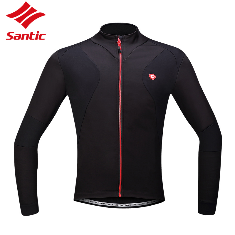 Santic Men Cycling Jacket Winter Thermal Polar Fleece MTB Reflective Sports Coat Cycling Jersey Long Sleeve Windproof Waterproof santic winter men cycling jersey with hooded fleece blue warm cycling clothing thermal mtb windproof cycling wear mc01054