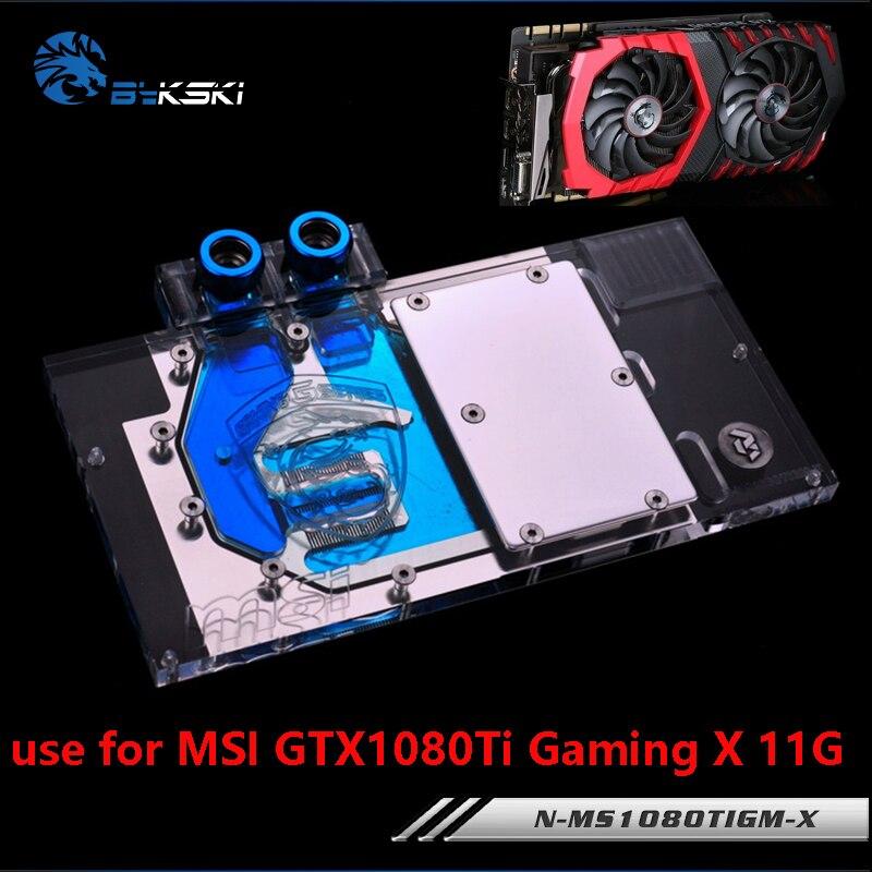 BYKSKI 水ブロック使用 msi GTX1080Ti ゲーム × 11 グラム/鎧 11 グラム OC/フルカバーグラフィックスカードの銅ラジエーターブロック RGB ライト  グループ上の パソコン & オフィス からの ファン & 冷却 の中 1