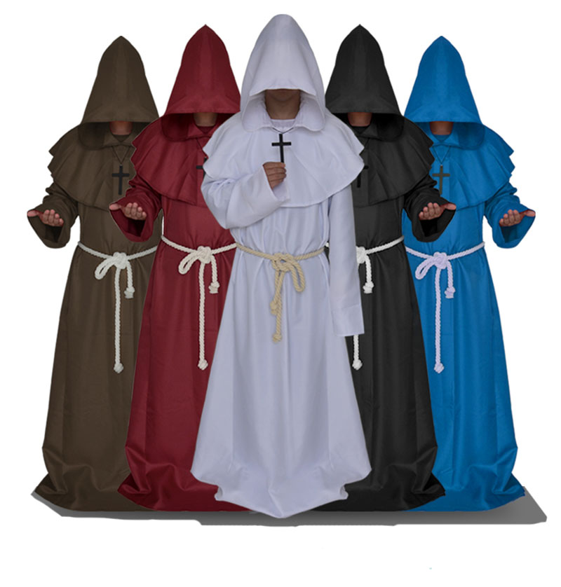 Pastor Costume Cloak Robe Cowl-Gown Priest Medieval Halloween Clergy Outfit Hooded Christian