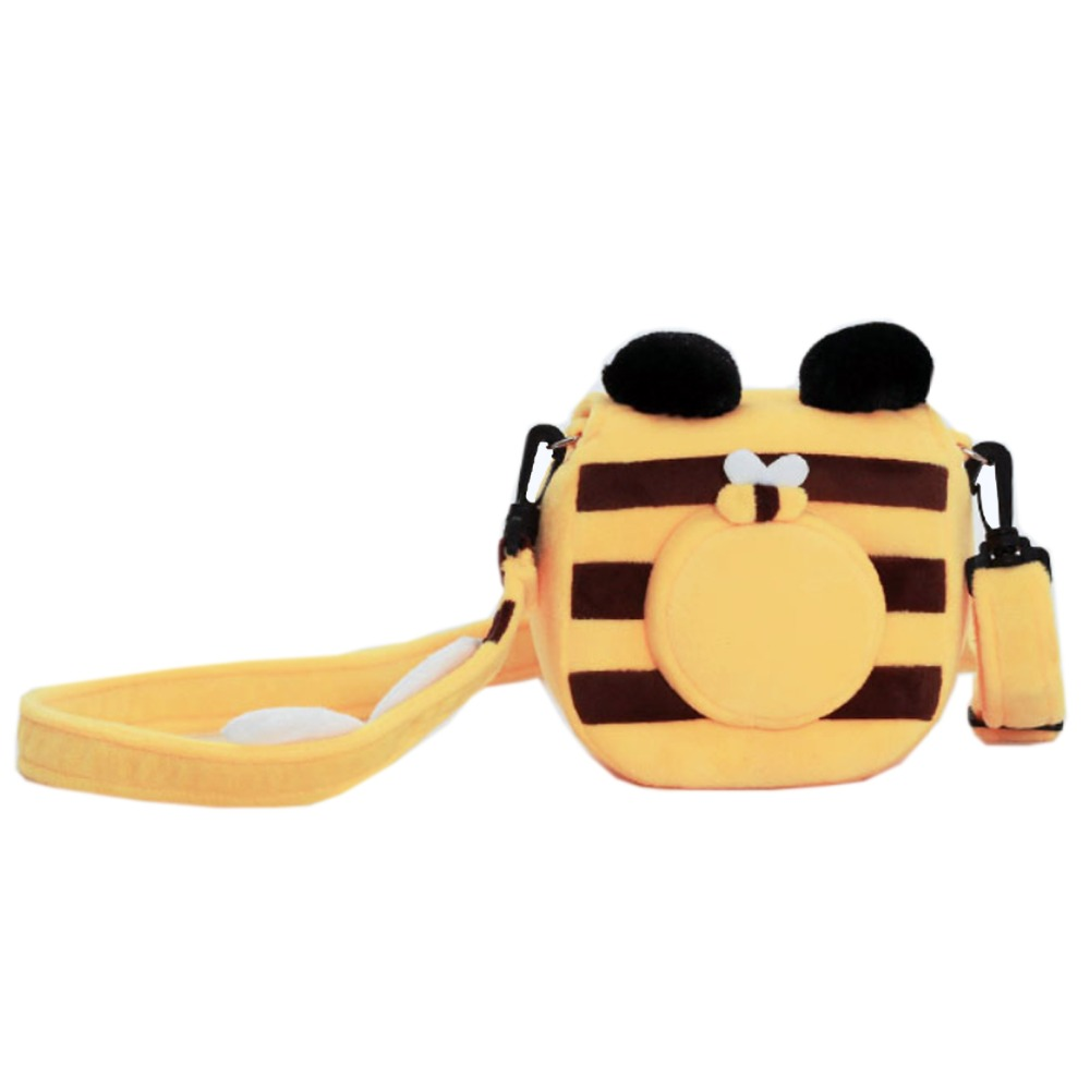 Cute Soft Short Plush Shoulder Bag Bee Camera Bag With Shoulder Strap For Instax Mini 9 Case Mini 8 25 70 7s 7c Photo Bag