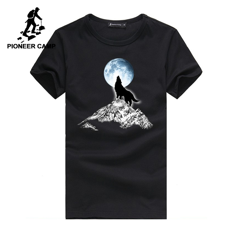 Pioneer Camp Fashion 3D print wolf pattern casual men   t  -  shirt   famous brand young fashion funny   t     shirts   100% cotton men clothing