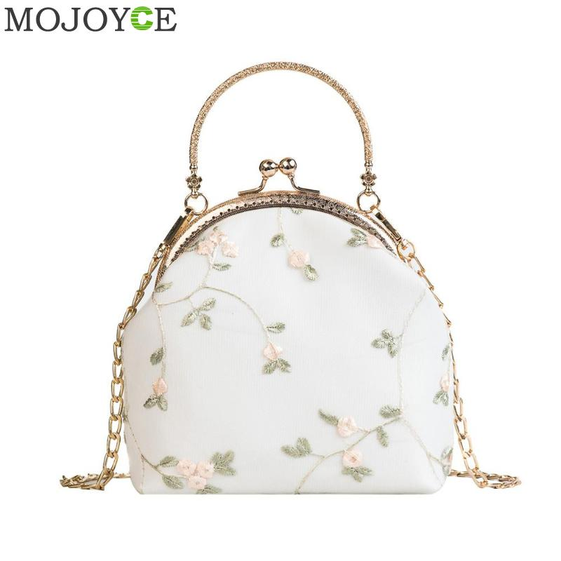 Elegant Women Retro Messenger Handbags Clip Flower Small Evening Wedding Party Clutch Bag Ladies Chain Shoulder Bags Purse