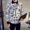New Hot 2016 Men's Spring Autumn Period shirt  men flower trend casual long-sleeved shirt shirt XL fashion all-match  shirt  men