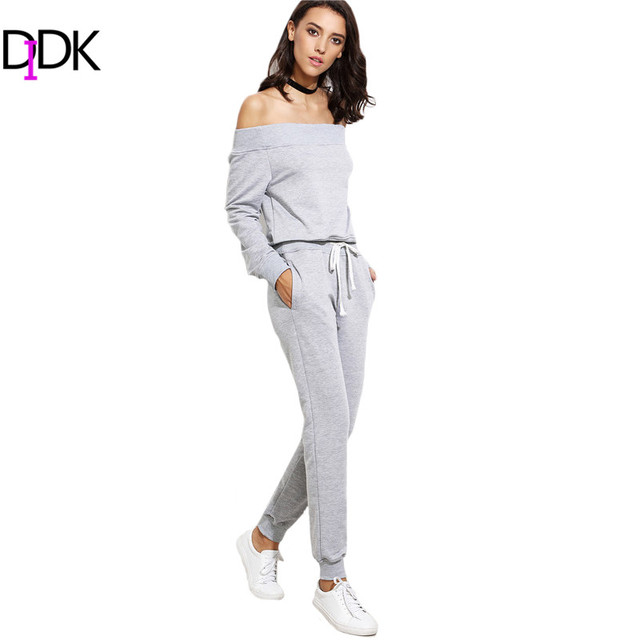 DIDK Women Two Piece Sets For Autumn Ladies Plain Off The Shoulder Long Sleeve Top With Drawstring Pockets Long Pants