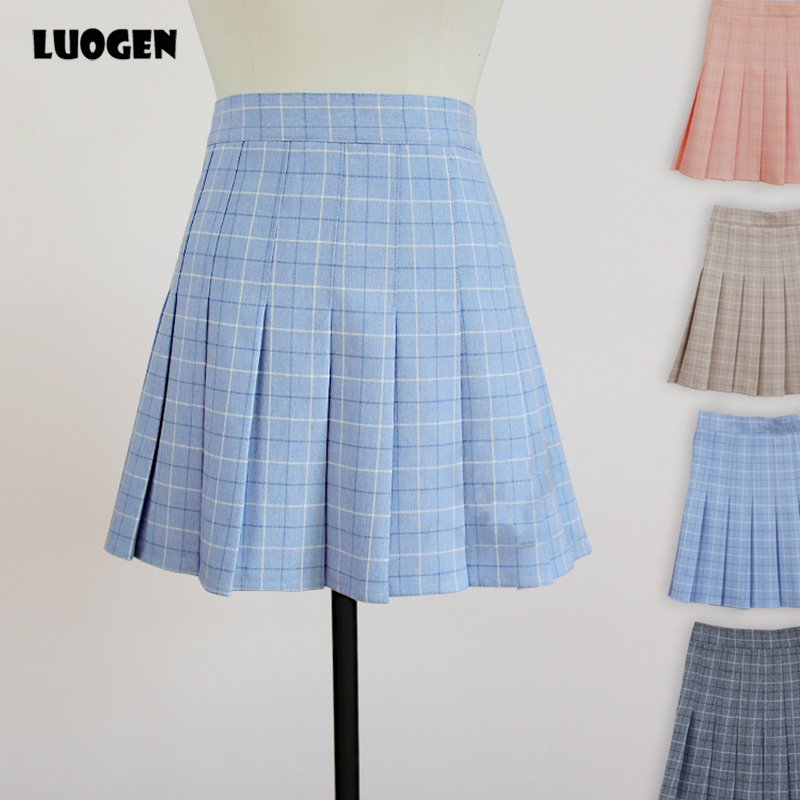 Kawaii Girls Japanese Style Mini Saia High Waist Plaid Chest Pleated Skirt Cute Lolita Mini Short Skirts Color Pink & Khaki