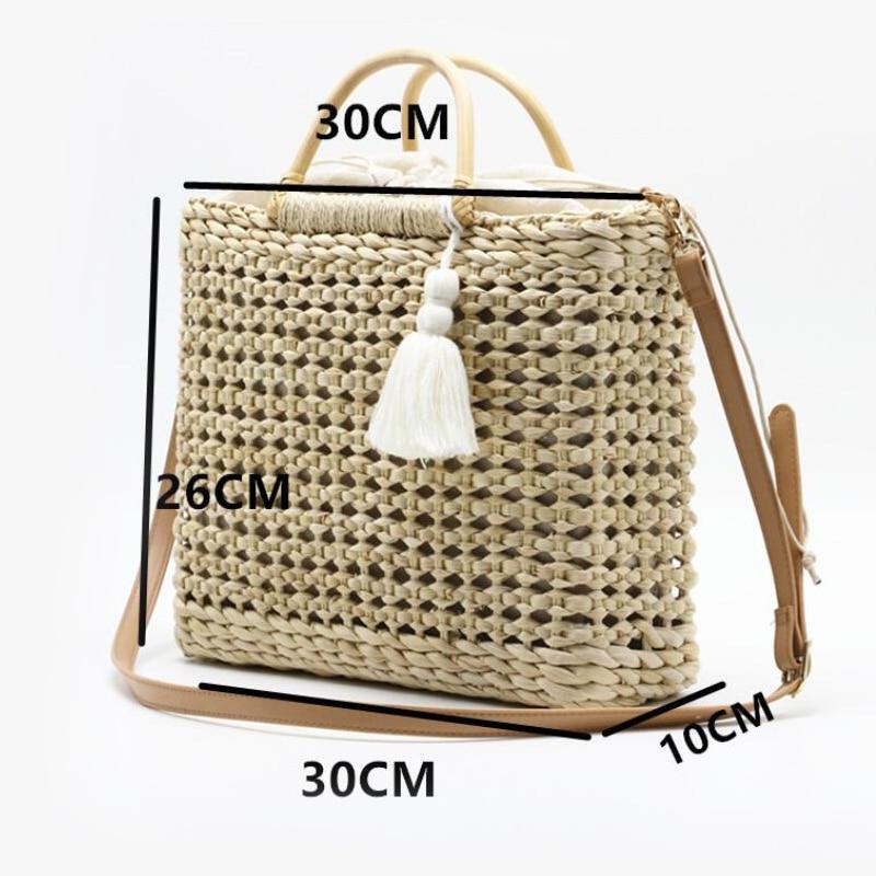 2 Color Hollow fringed woven straw bag Wooden handle natural color shopping bag Woman fashion tassel messenger bag handbag
