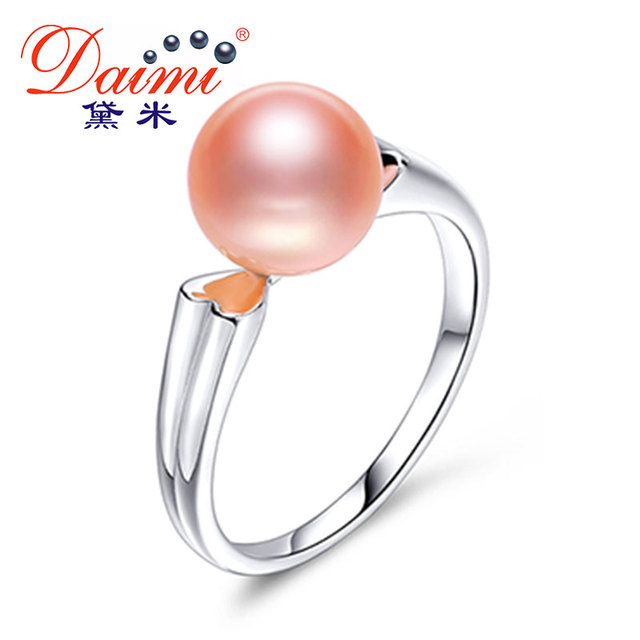 DAIMI Heart Ring 8-9mm Pink Freshwater Pearl Ring Fine Jewelry 925 Sterling Silver Ring For Women