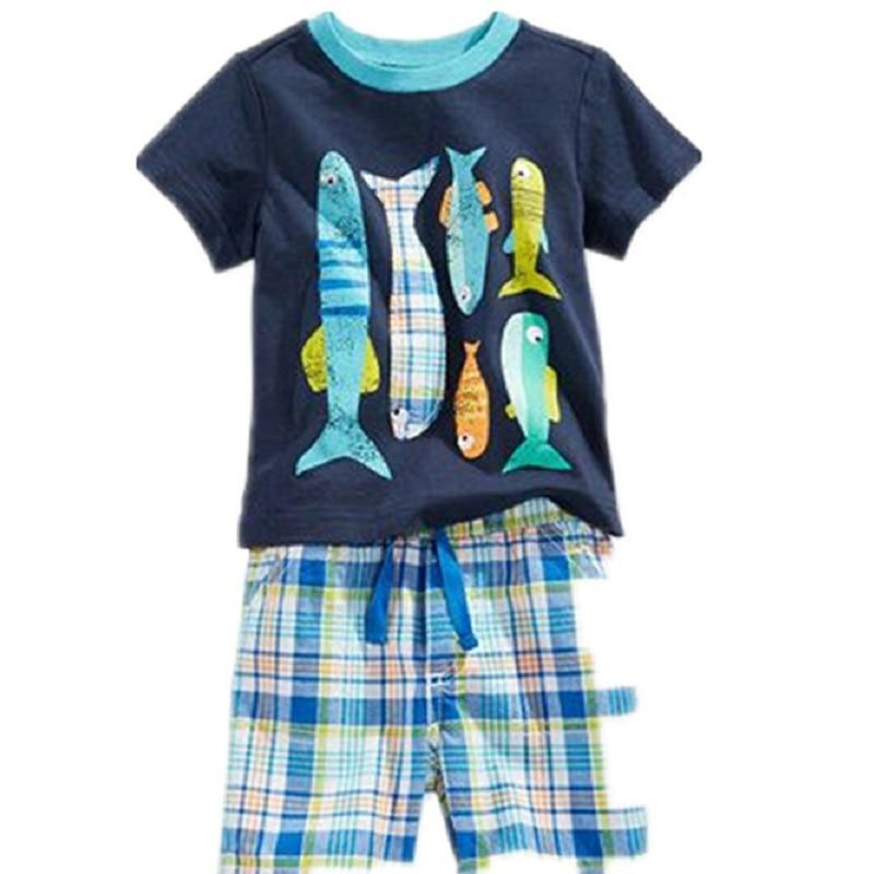 2021 Baby Boy Clothes Suits Summer Children T-Shirts Shorts Pant 2-Piece Clothing Set Beach Kids Outfits Sport Suit 2 3 4 5 6 7Y 6