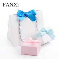 FANXI 12pcs Free Shipping Lovely Foldable White Paper Shopping Bag with Handle Blue Ribbon for Jewelry Boxes Wedding Gift Bags