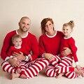 Muchacha del bebé rojo de la camiseta + stripe pant 2 unids ropa pijamas de los niños conjuntos de pijamas de navidad los niños clothing sets envío gratis