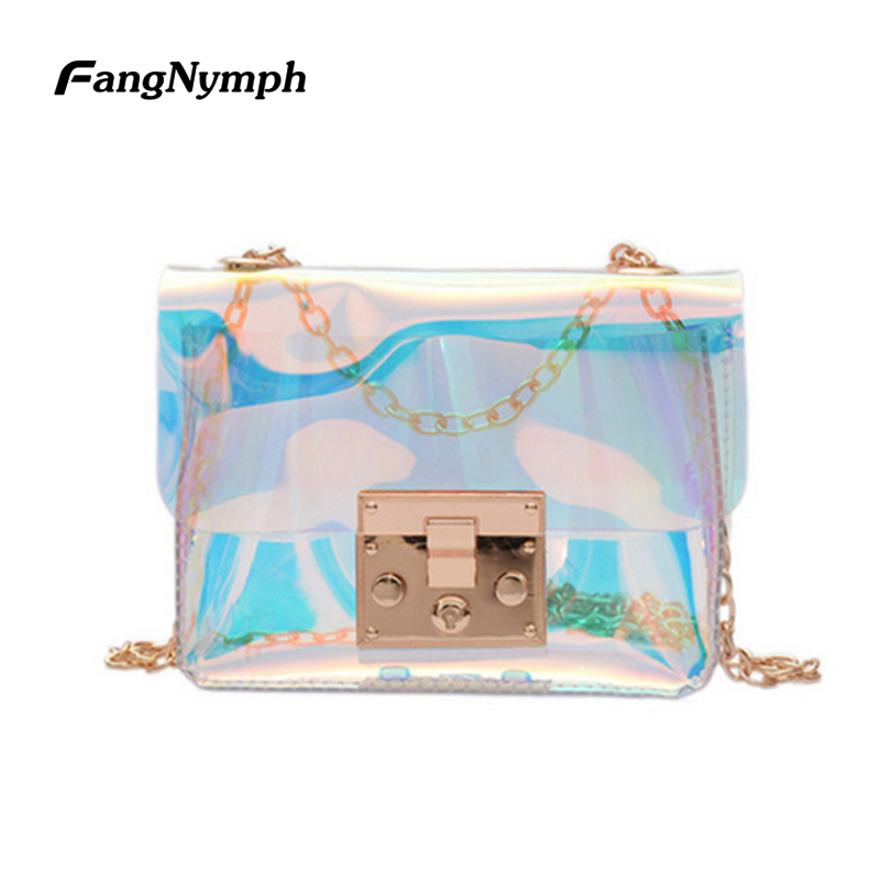 цена на FangNymph 2018 New Fashion Designer Mini Small Women Transparent Bag Clear PVC Laser Jelly Tote Shoulder Messenger Bags Female