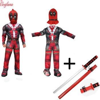 Deadpool cosplay Deluxe chłopcy Marvel Anti Hero Deadpool dzieci mięśni film Halloween Carnival Party Cosplay kostium dla dzieci