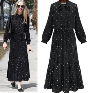 2019 Women Summer O-Neck Long Sleeve Polka Dot Chiffon Dresses Elegant Black High Waist Party Dress Club Vestidos