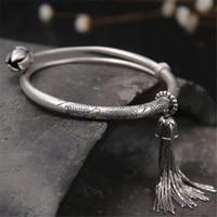 Uitbreidbaar Draad Vis Lotus Bangle 990 Sterling Zilver Pols Manchet Kwastje Charms Armband Voor Kids Meisje Vrouwen Gift