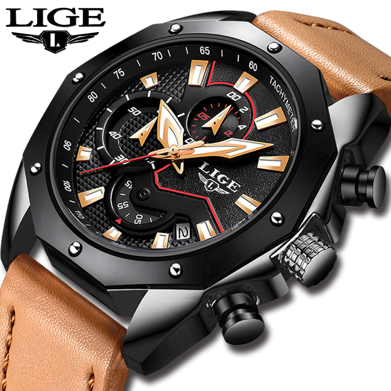 LIGE Mens Watches Top Brand Luxury Casual Quartz Watch Men Leather Big Dial Military Waterproof Sports Watch Relogios Masculino цена 2017
