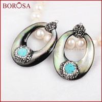 BOROSA Jewelry Pendants Hollow Oval Natural Black Shell Paved Howlite Blue Stone Faceted With Zircon Charm JAB188