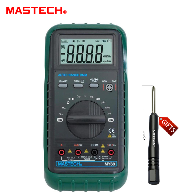 MASTECH MY68 Electronic measuring instrument handheld multimeter 3 3/4 LCD 3999 Counts Auto Ranging AC DC Digital Multimeter my68 handheld auto range digital multimeter dmm w capacitance frequency