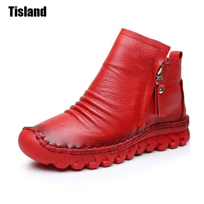Handmade Women Boots Fashion Round Toe Zip Closed Women Genuine Leather Ankle Boots Female Soft Comfortable