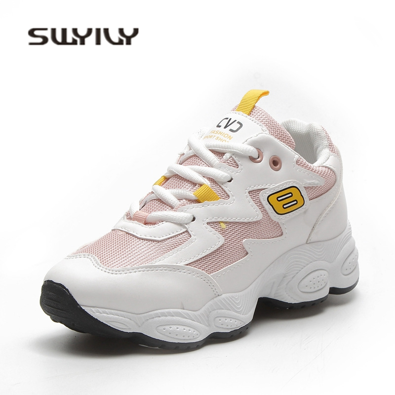 SWYIVY Women's Sneakers Platform 2018 New White Casual Shoes Woman Sneaker Breathable Female Canvas Shoes Comfortable 40 Size swyivy women sneakers light weight 2018 41 woman casual shoes slip on lazy shoes comfortable candy color breathable net shoe
