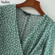 Vadim vintage floral print wrap dress V neck bow tie sashes short sleeve female streetwear chic mid calf dresses vestidos QA030