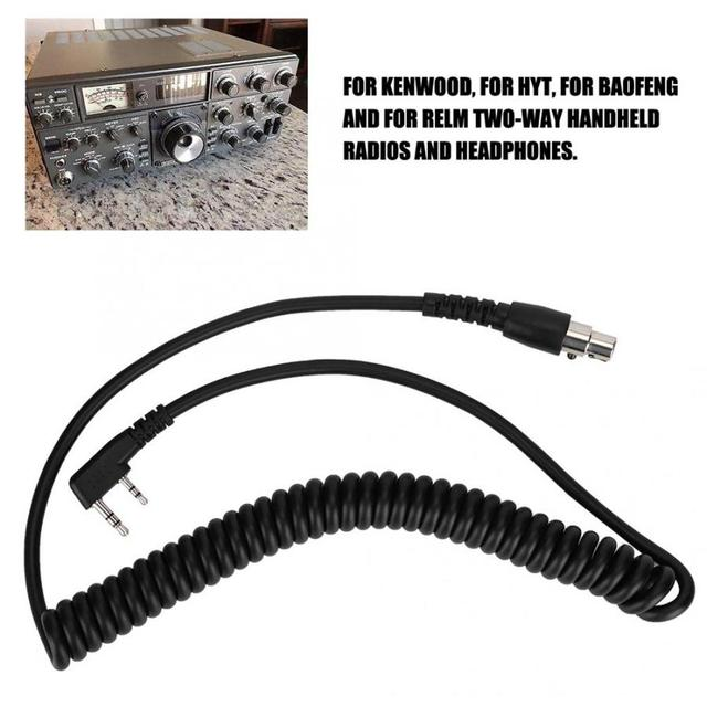 CC-MOT Coil Cord K Cable For Baofeng HYT Kenwood Relm 2-Pin To 5-Pin Two-way Handheld Radios And Headphones K1 Radio Connector 1