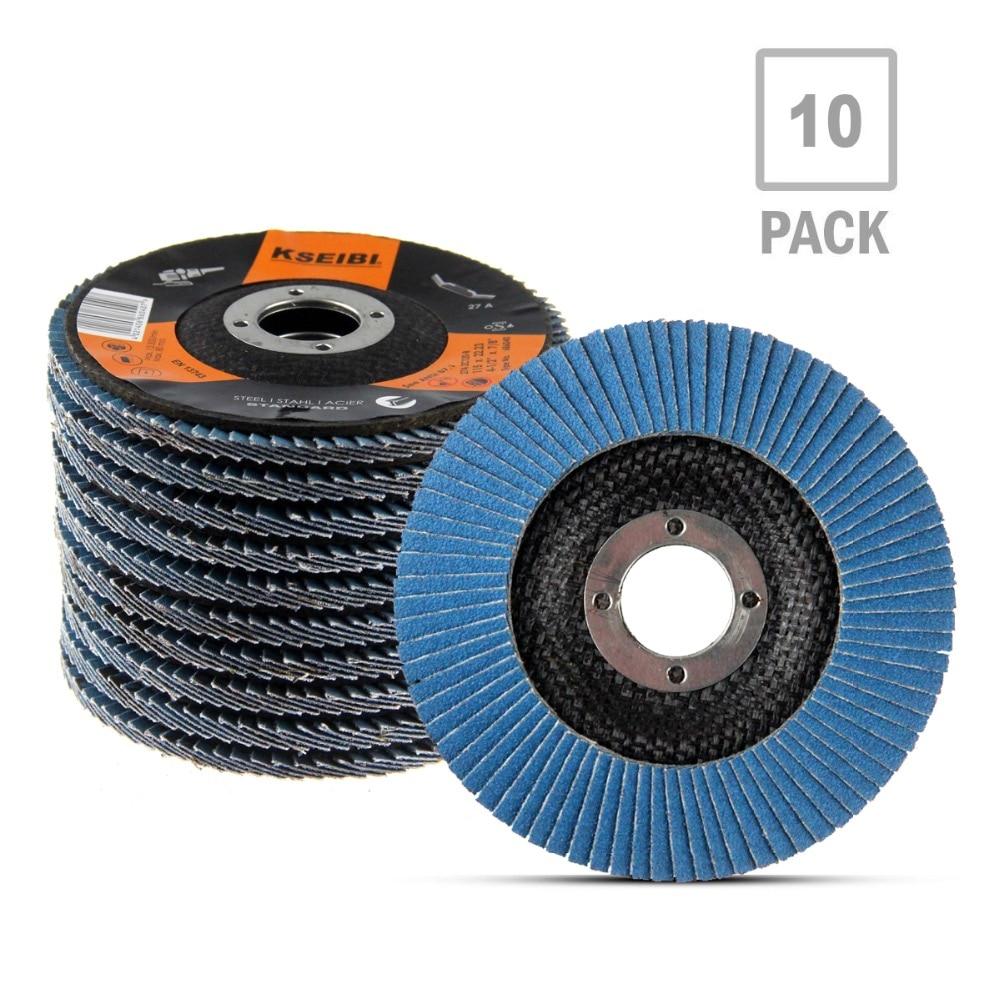 KSEIBI 10PCS Industrial Flap Disc 100mm/115mm Sanding Grinding Wheel  40/60/80/120/240/320 Grit Sander Blades For Angle Grinder