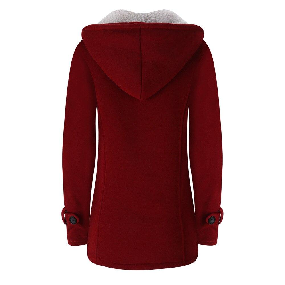 Jacket Coat Winter Women 2019 Hooded Wool Blend Praka Classic Horn Leather Buckle Coat Slim For Ladies Winter Jacket Woman Parka 7
