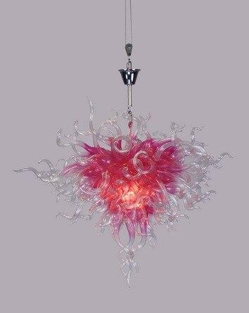 Décorations de mariage lustre en verre artistique ampoule LED lustre en verre soufflé à la main de couleur rose moderne