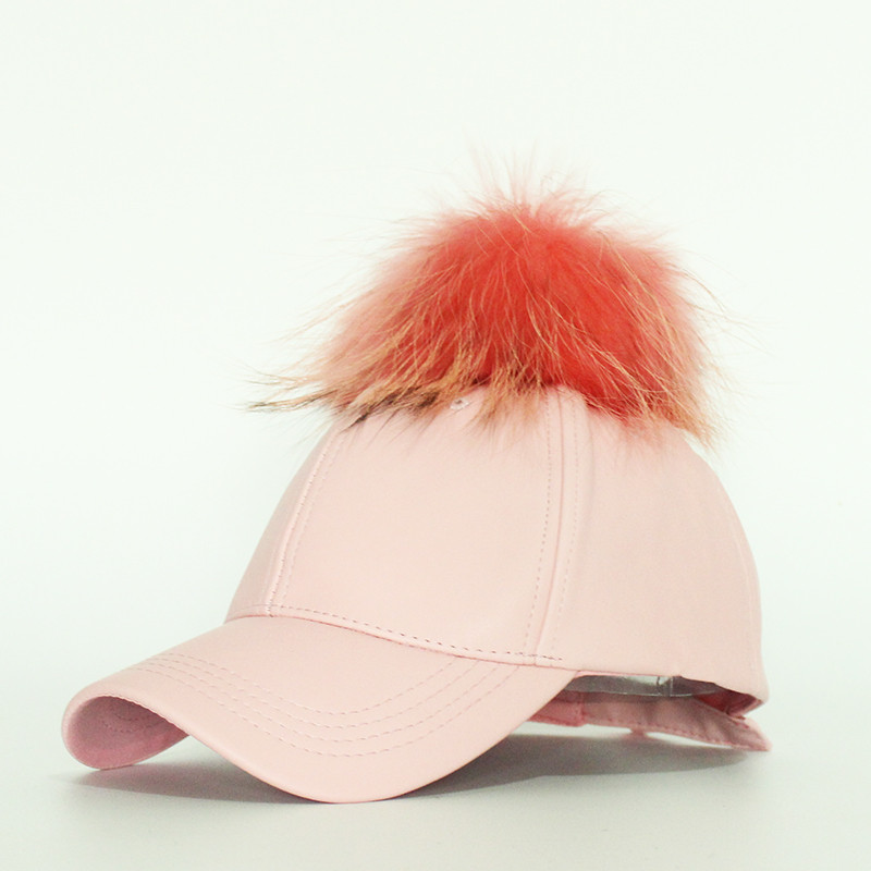2016-Hot-Sale-Women-s-Winter-Hat-PU-Leather-Pom-Pom-Cap-Leather-Hat-With-Fur (4)