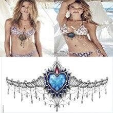 Pretty Under Breast Tattoo, Ornamental Diamond Temporary Tattoo Waterproof Tattoo Sticker Great For Your Beach Vacation YS-X03