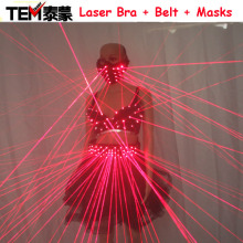 2017  Sexy Lady Clothing Laser Bra and Girdle Laser Red Laser Mask For Night Club Led luminous Sexy Women Suit Laser Show