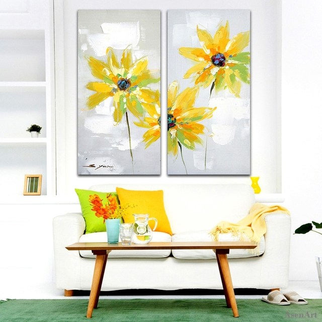 2 Panels Hand Painted Yellow Daisy Oil Painting on Canvas Modern ...