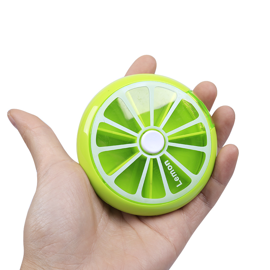 Mini cute fruit portable pill case splitters with Rotatable cover and button weekly pill box Moistureproof