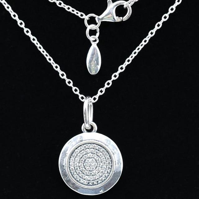 925 Sterling Bạc Vòng Cổ PAN Chữ Ký Với Pha Lê Mặt Dây Chuyền Vòng Cổ Cho Phụ Nữ phù hợp với Phụ Nữ Đồ Trang Sức Mỹ