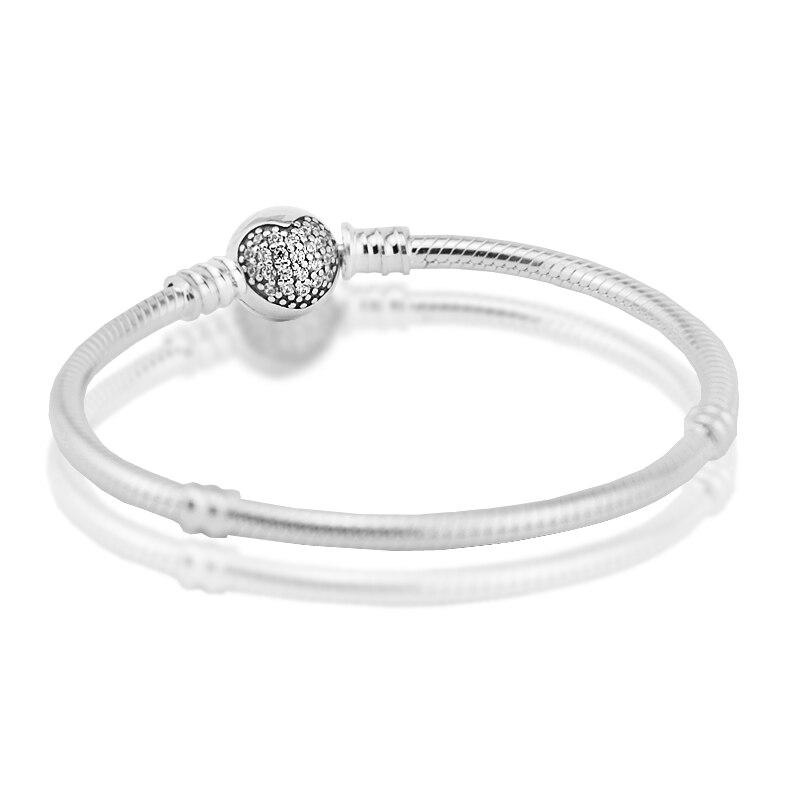 Pave Heart Clasp Bracelet 100% 925 Sterling Silver Clear Cz Snake Bracelets For Women Fit Charm Beads DIY Fine Jewelry PFB034 new style bracelets mens 10mm micro pave black cz square beads bracelets
