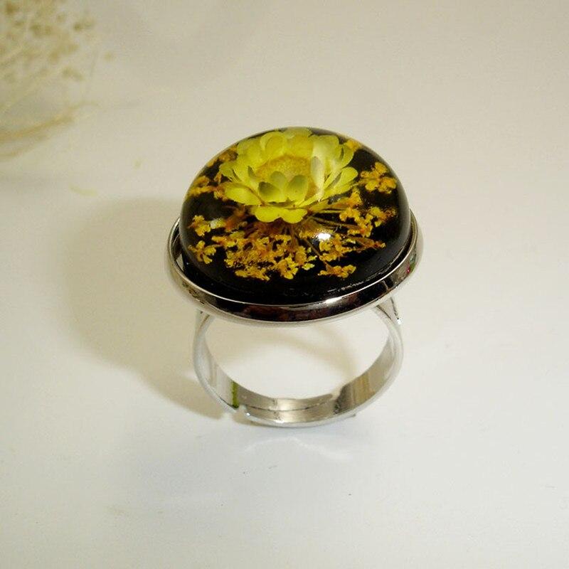 100% Wahr Houbian Neue Harz Getrocknet Blume Ring Schmuck Handgemachte Getrocknete Blume Ring Für Frauen