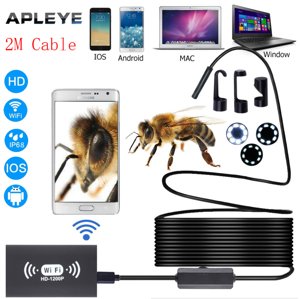 APLEYE 2M Softwire Cable Wifi Endoscope Camera 1200P 8mm Borescope Camera USB Endoscopio WI-FI Mini Camera LED switch