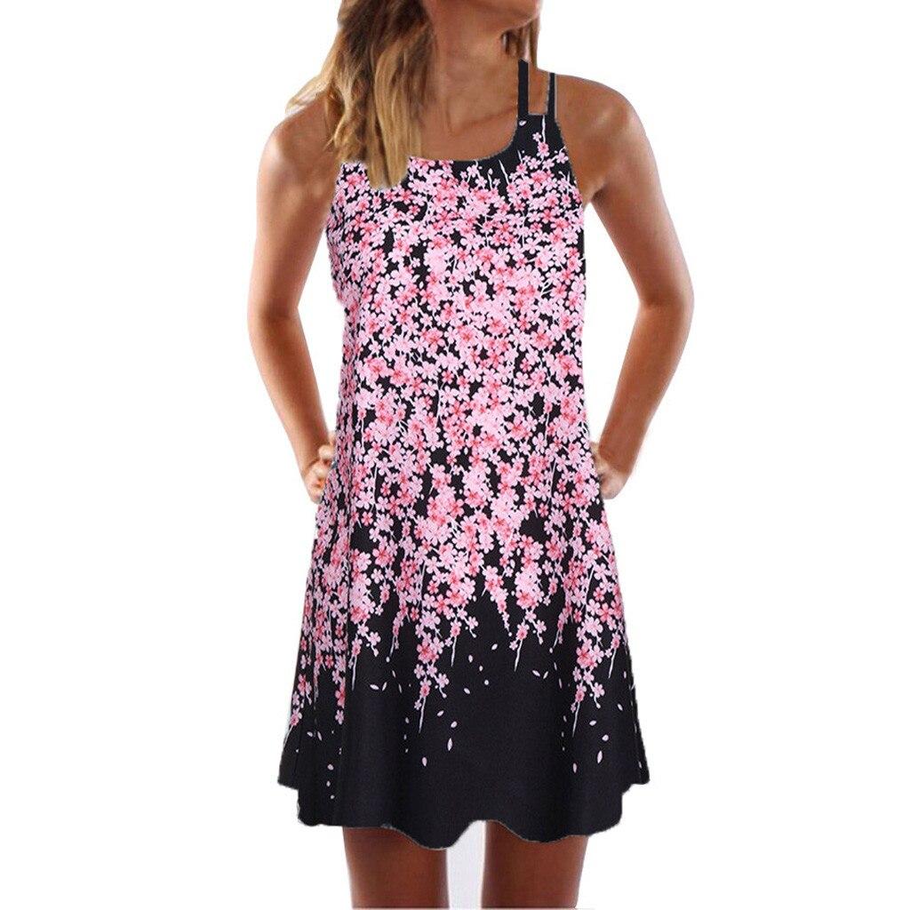Vintage Boho Women Summer Dress Sleeveless Beach Flower Printed Short Mini dresses woman party night beach Innrech Market.com