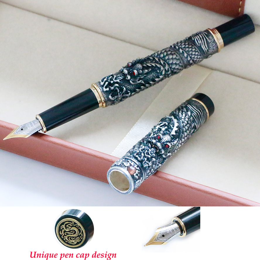 Luxury Jinhao Double Dragon Fountain Pen 0.5MM Nib Stationery Calligraphy Ink Pen Office Supplies caneta tinteiro
