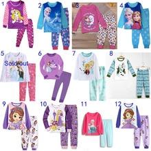 Детские пижамные комплекты принцессы Эльзы и Анны Софии хлопковая футболка с длинными рукавами+ штаны осенне-зимняя одежда для сна для девочек повседневная одежда SA1390