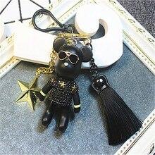 Free Shipping 2017 NEW Full Rhinestones Gloomy Bear Key Ring Cross Keychain Lovely Holiday Gifts Car Keyring Key Chain Chaveiro