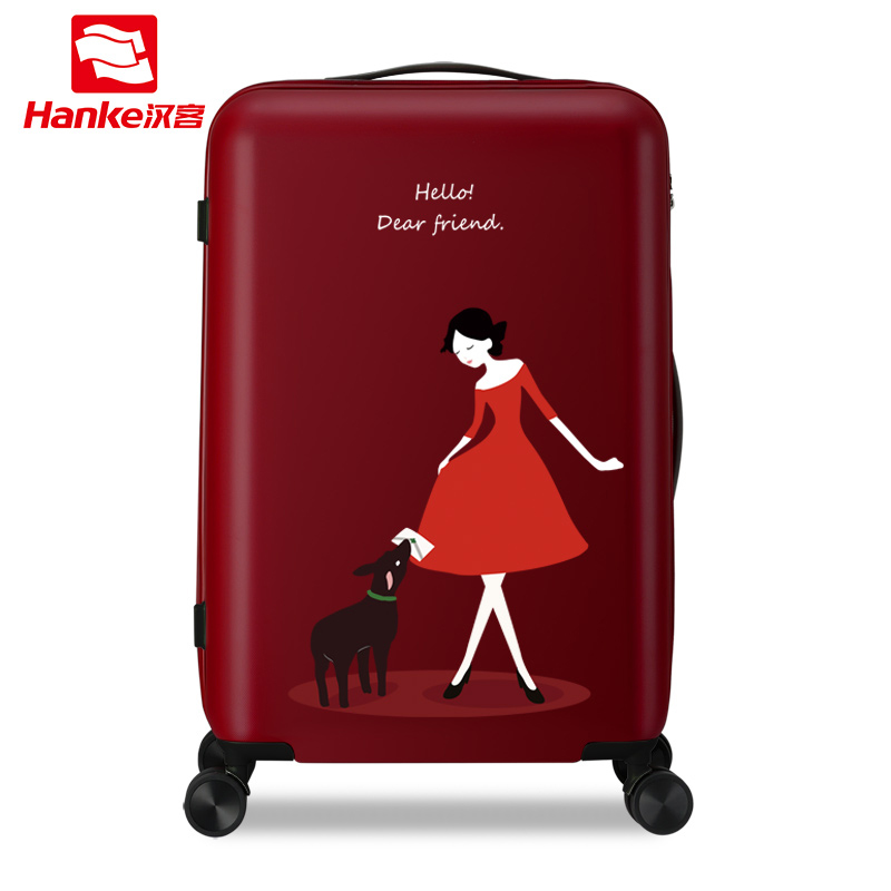 цена на Hanke 24'' Rolling Luggage Bag Travel Suitcase Female Girls Women Cartoon Spinner Hardside Trolley Carry-Ons Boarding Case H9806