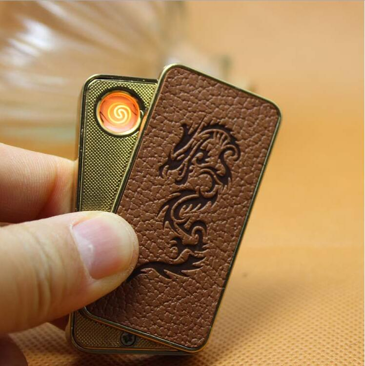 2016 Exquisite compact leather USB lighter Electronic cigarette lighter windproof lighter with gift box