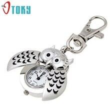 Отличное Качество Новый Дизайн Женщин Мини Металлический Ключ с Кольца Сова Двойной Открытый Кварцевые Часы Часы-Серебро Для Рождественский Подарок(China (Mainland))
