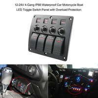 12 24V 4 Gang IP66 Waterproof Car Motorcycle Boat LED Toggle Switch Panel with Overload Protection