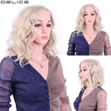 Delice Women's Side Part Natural Wave Medium Wig Heat Resistant Synthetic Kinky Curly Ombre Cosplay Wigs adiors medium curly side parting colormix synthetic wig