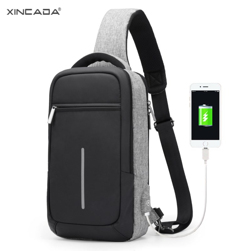XINCADA Sling Bag Chest Pack Shoulder Crossbody Bags Mens Messenger Bag with USB Charging Port Small